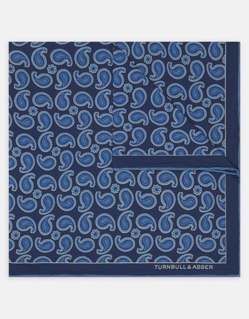 Turnbull & Asser Turnbull & Asser Pocket Square Blue Paisley