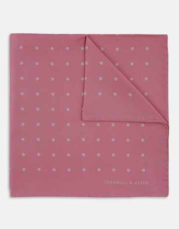 Turnbull & Asser Turnbull & Asser Pocket Square Pink with Polka Dots