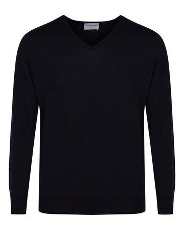 John Smedley John Smedley Bobby V-Neck Sweater Black