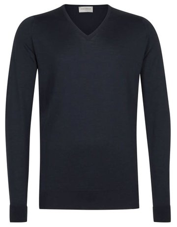John Smedley John Smedley Bobby V-Neck Sweater Midnight Blue