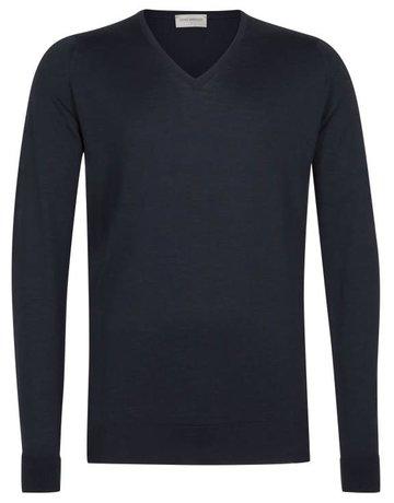 John Smedley John Smedley Bobby V-Neck Sweater Midnight Blue