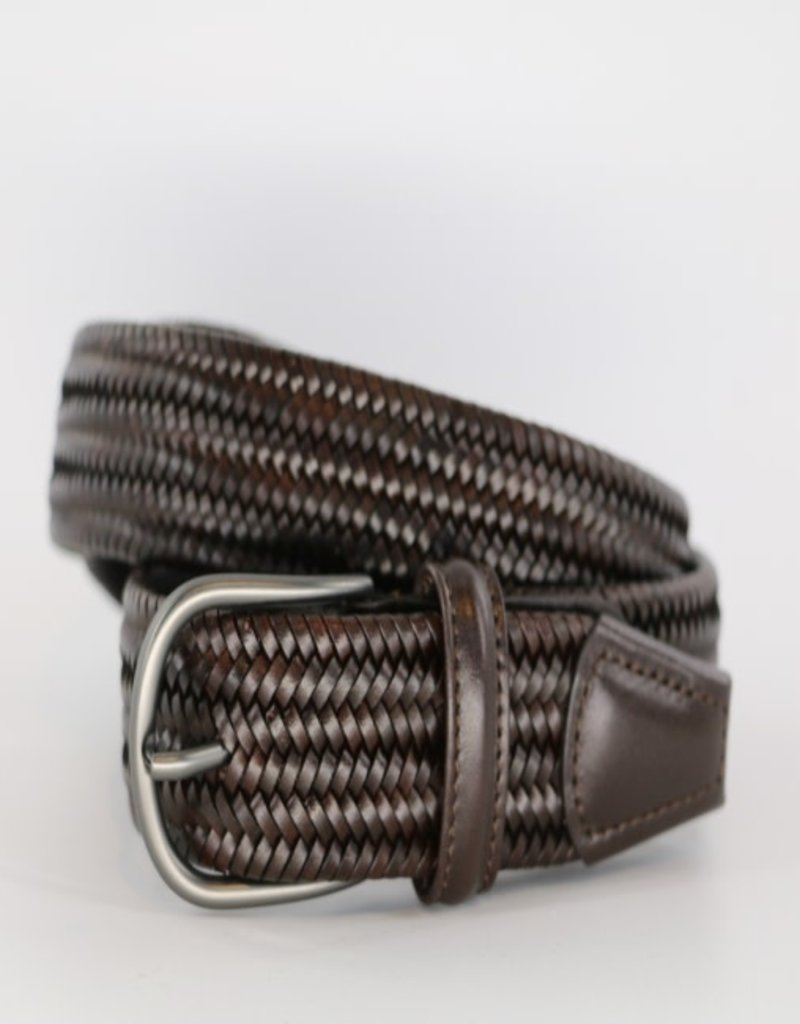 Anderson's Belts and Wallets Anderson's Woven Stretch Leather Belt Dark Brown