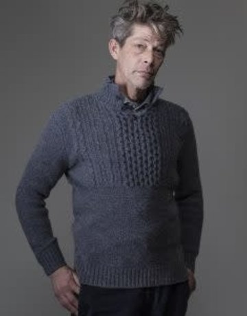 Inis Meain Inis Meain Beag Button Up Knit Peltro Grey