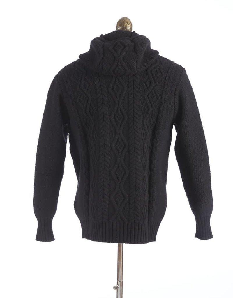 Inis Meain Inis Meain Aran Hoodie Sweater Black