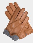 Mazzoleni Mazzoleni Lamb Blue Cashmere Gloves Camel