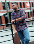 Ordean Ordean Blue Plaid Shirt Button Up
