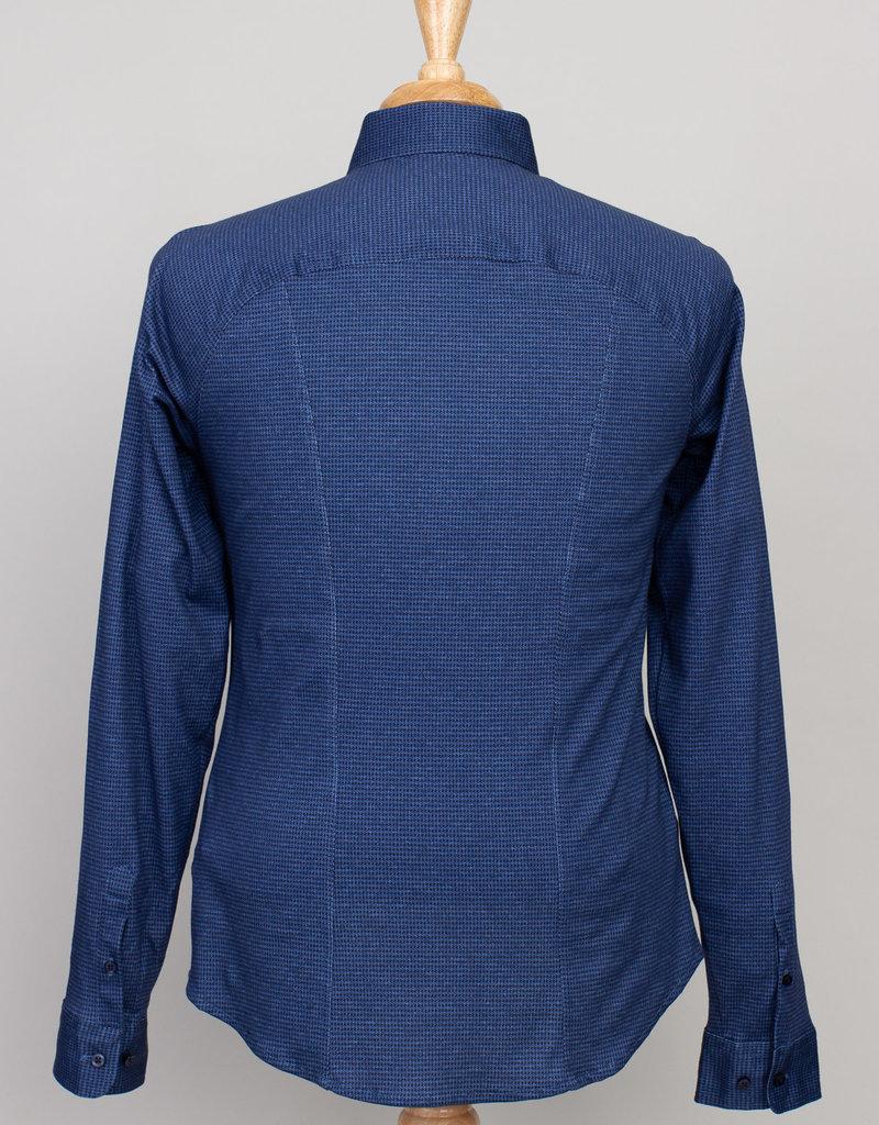 Desoto Desoto Long Sleeve Houndsthooth Blue and Black Shirt