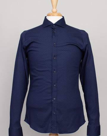 Desoto Desoto Long Sleeve Navy Diamond Print Shirt