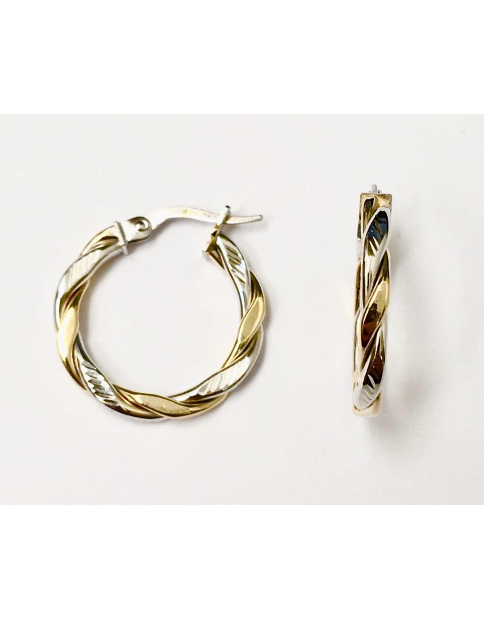 Two-Tone Twist Hoop Earrings 10KWY