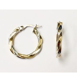 Two-Tone Twist Hoop Earrings