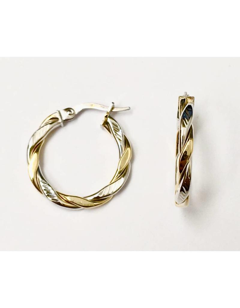Two-Tone Twist Hoop Earrings 10KWY