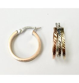 Tri-Tone Fancy Hoop Earrings