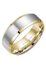 Crown Ring Sandpaper/Polished Two-Tone (Bleu Royale) 14KWY