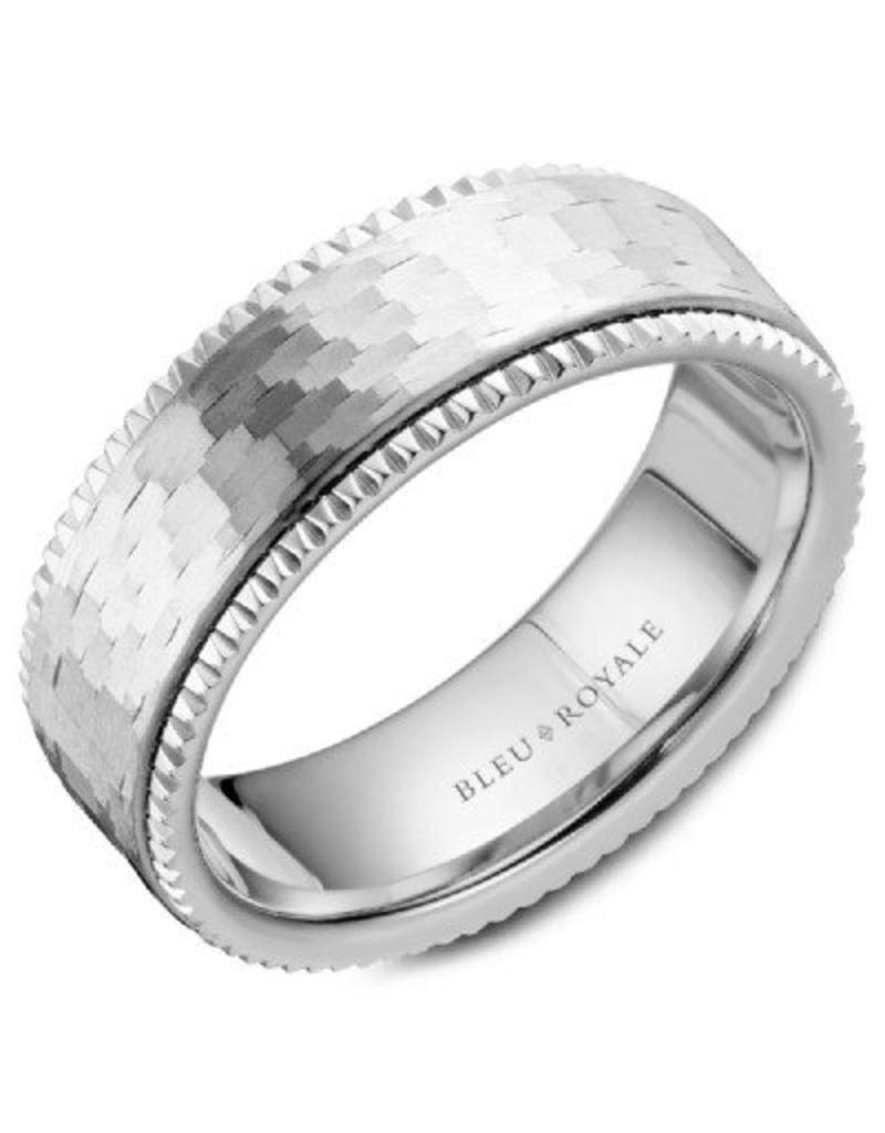 Crown Ring Hammered & Fluted Ring 14KW (Bleu Royale)