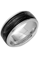 Crown Ring Charcoal Gray Enamal & 14KW Ring (Bleu  Royale)