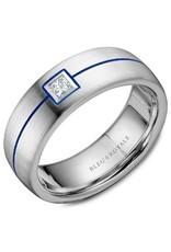 Crown Ring Princess Diamond with Blue Enamel 14KW (Bleu Royale)
