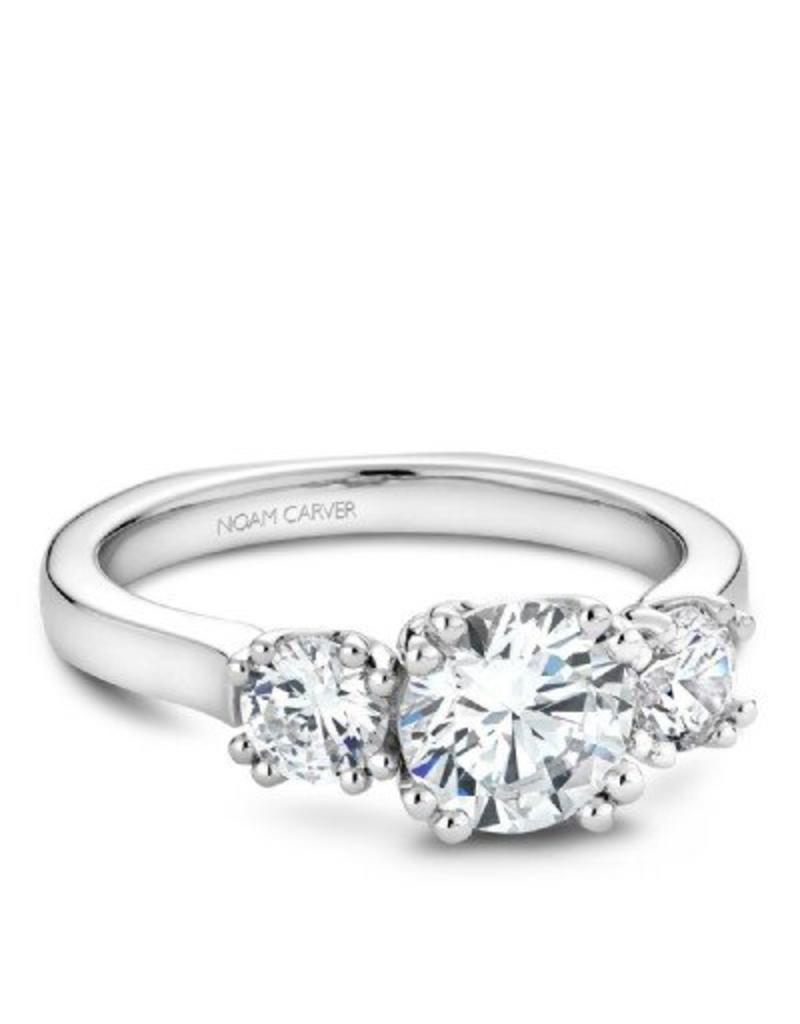 Noam Carver Three Stone Semi-Mount Engagement Ring 14KW by Noam Carver