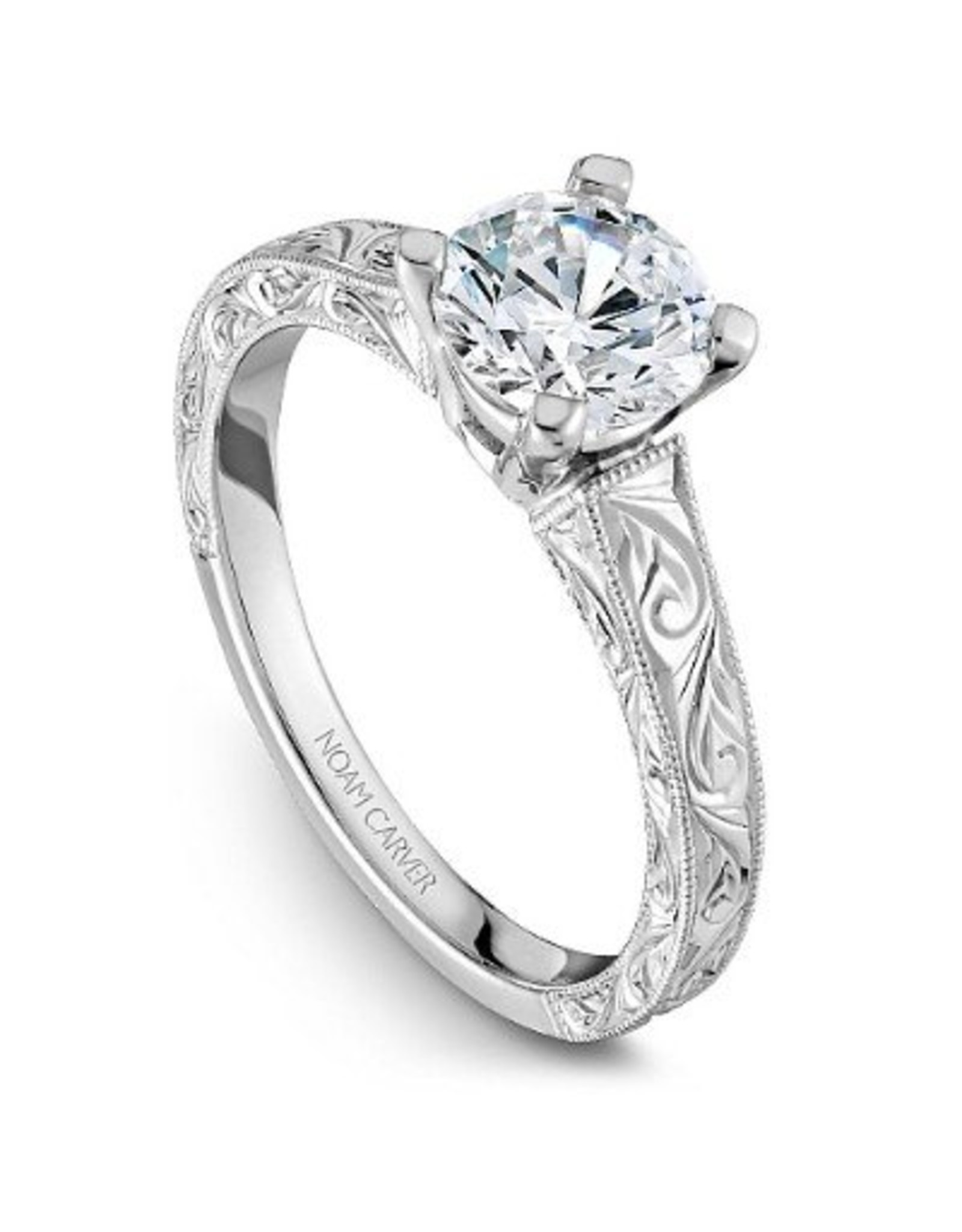 Noam Carver Engraved Solitaire Semi-Mount 14KW Ring By Noam Carver