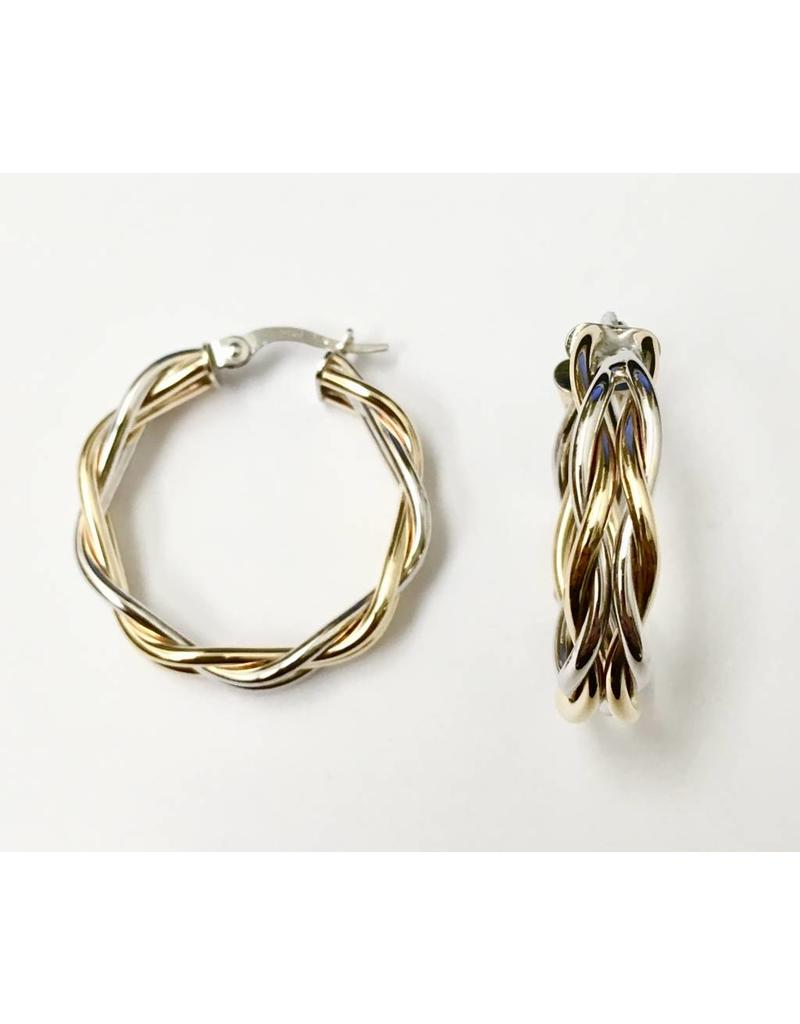 Two-Tone Twisted Hoops 10KWY