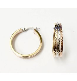 Tri-Tone Fancy Hoop Earrings