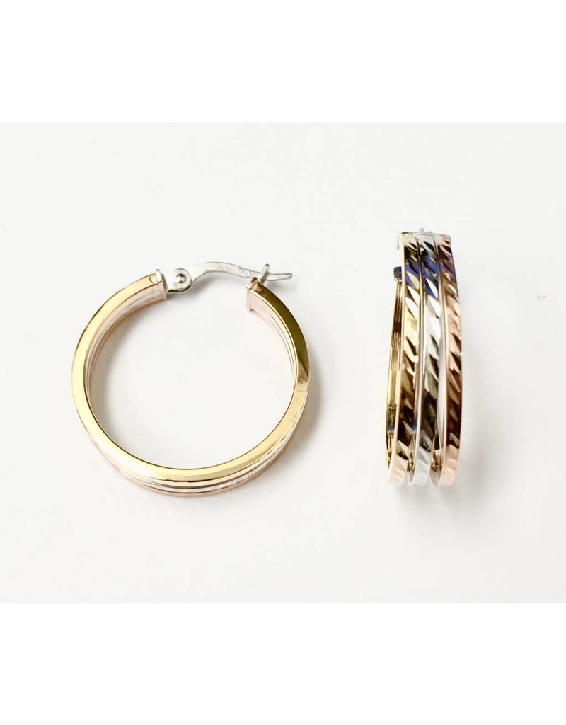 Tri-Tone Fancy Hoop Earrings 10KWRY