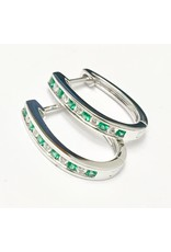 Emerald & Diamond Earrings 14KW