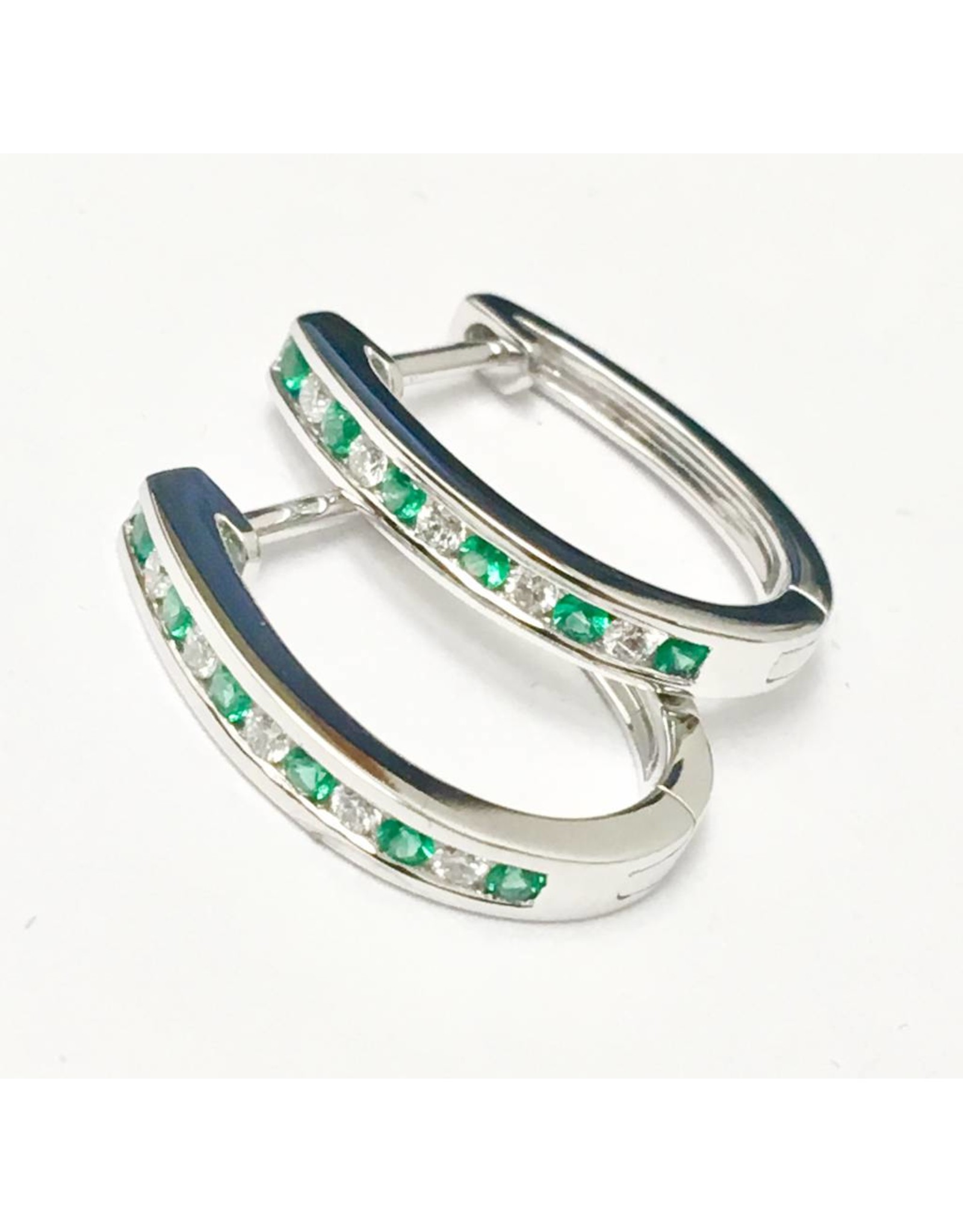 Emerald & Diamond Earrings 14KW