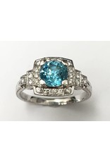 Blue Zircon & Diamond Ring 14KW
