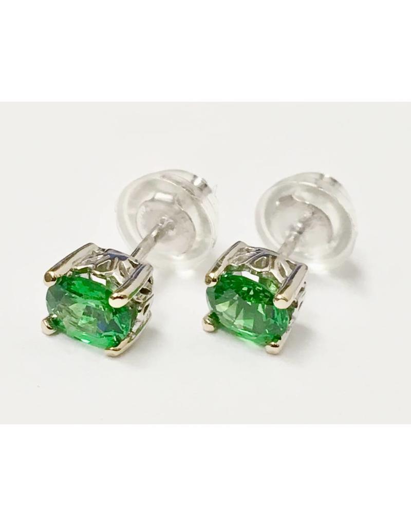 Tsavorite Garnet Oval Stud Earrings 14KW