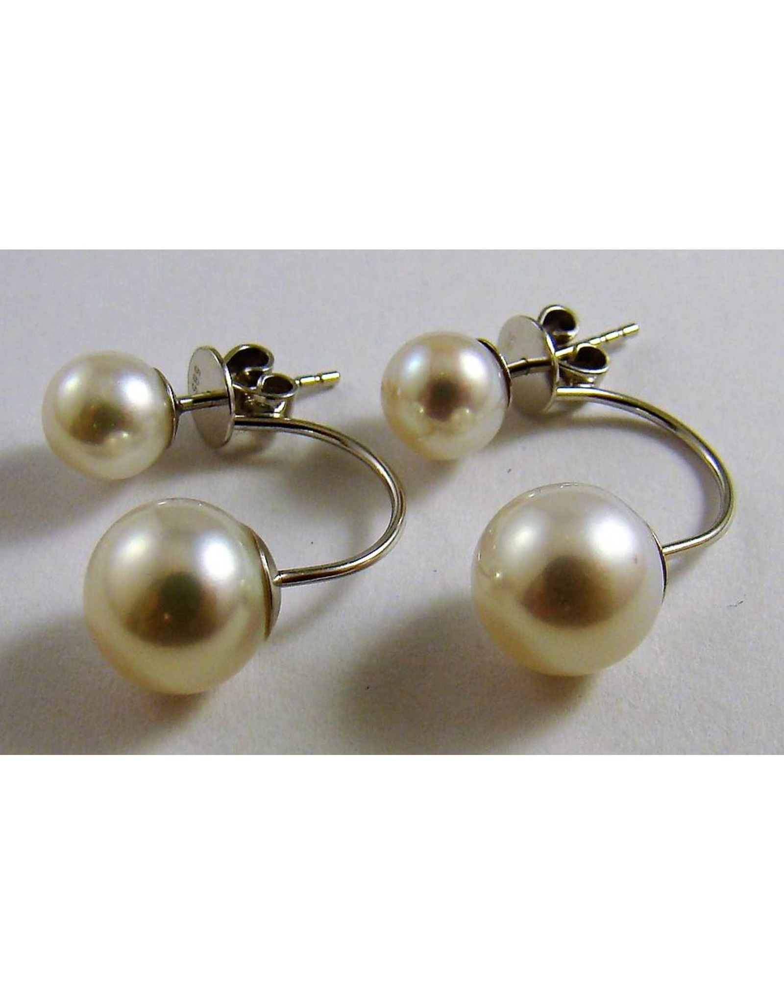 Tribal Freshwater Pearl Earrings 14KW