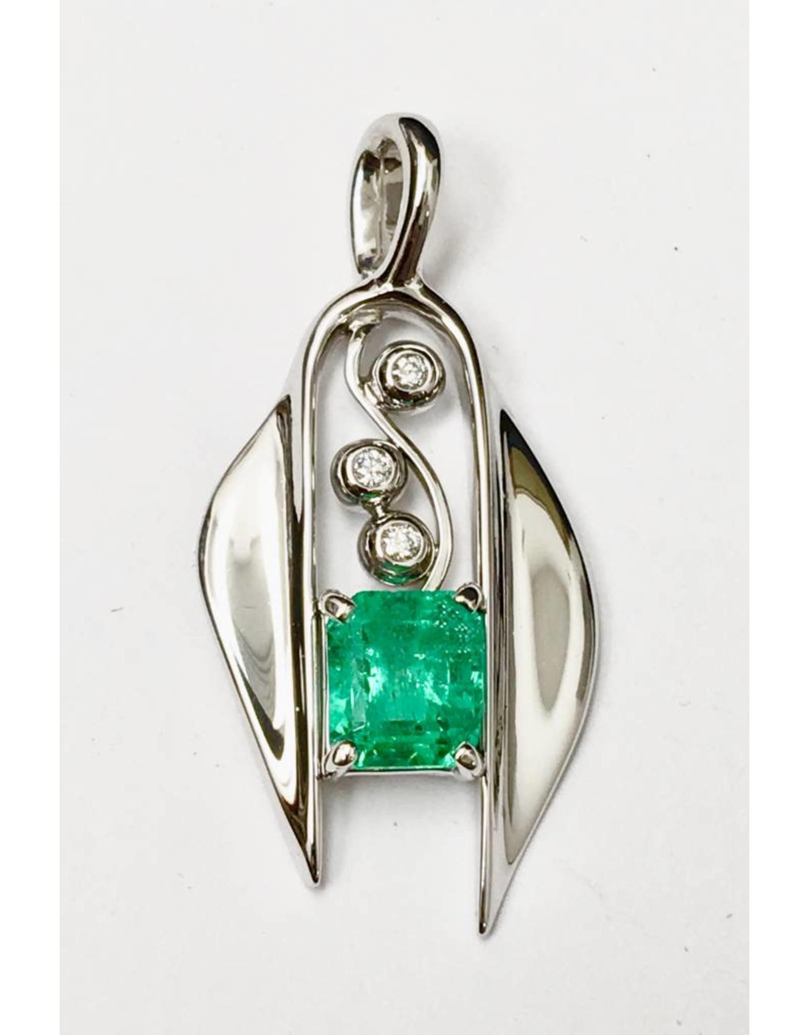 Custom Emerald & Diamond Pendant 14KW