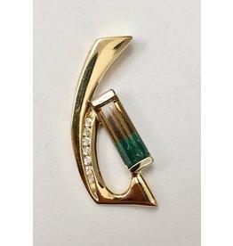 Bi-Colour Tourmaline & Diamond Pendant