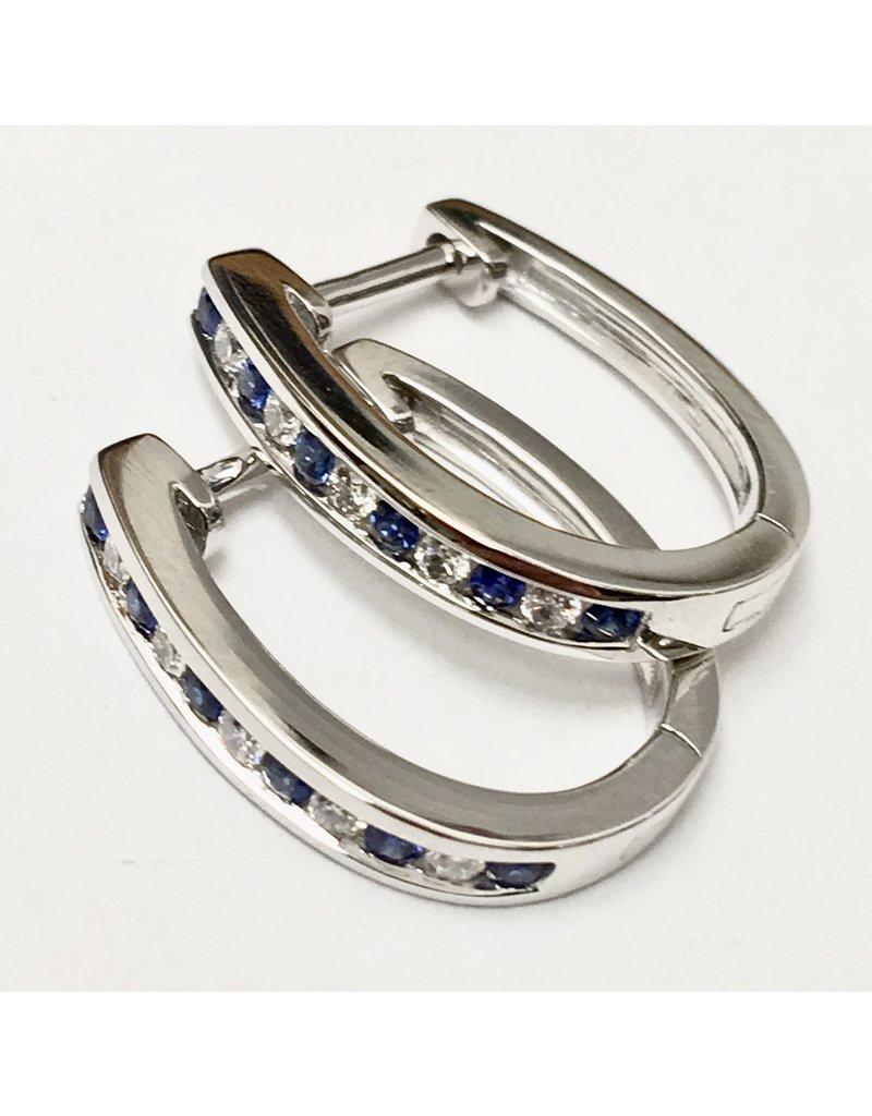 Sapphire & Diamond Hoop Earrings 14KW