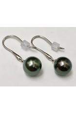 Tahitian Pearl & Diamond Earrings 18KW