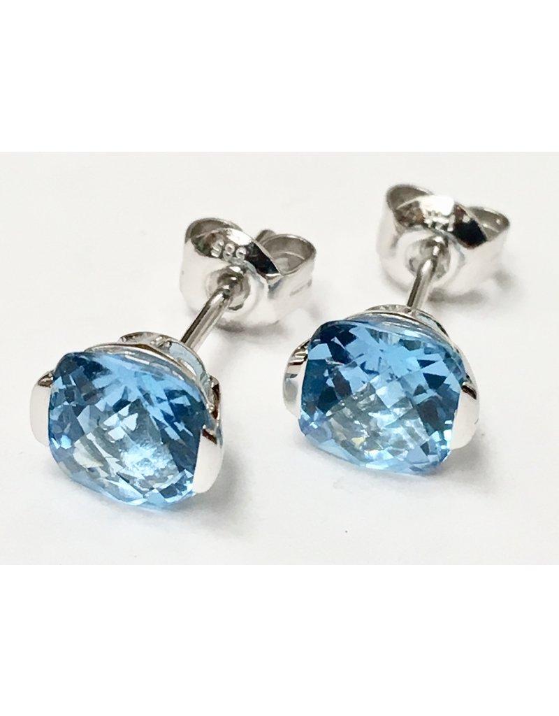 Topaz Stud Earrings 14KW
