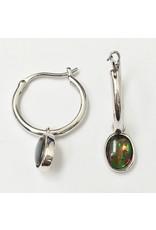 Korite Ammolite Dangle Hoop Earrings SS
