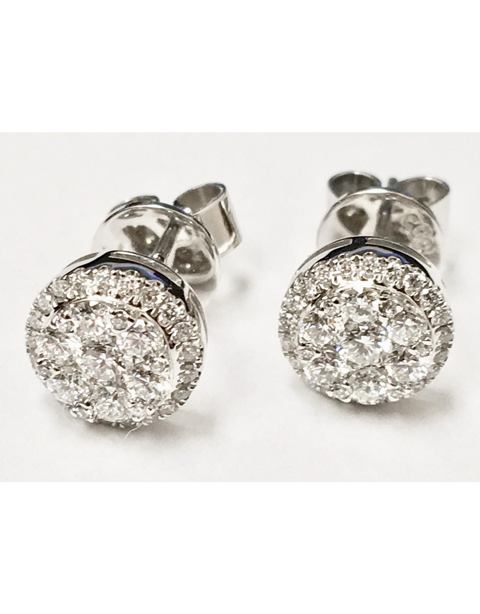 0.65ctw Diamond Cluster Studs 14KW
