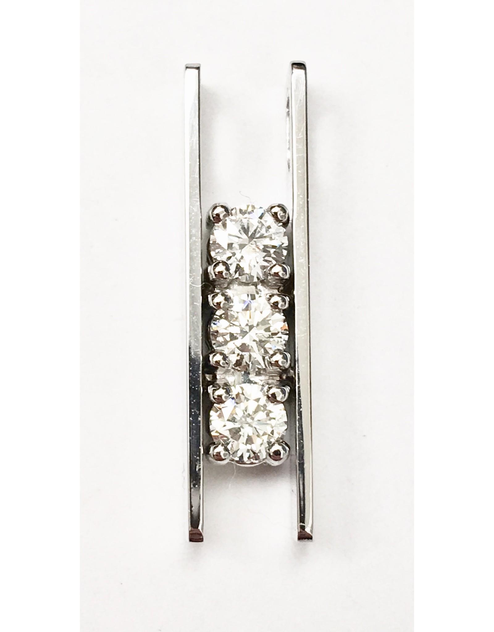 Triple Diamond Bar Pendant 14KW