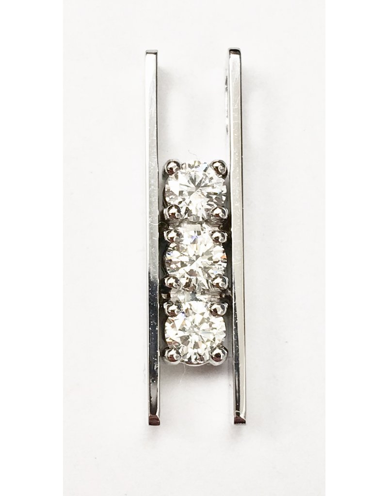 Triple Diamond Bar Pendant 14KW