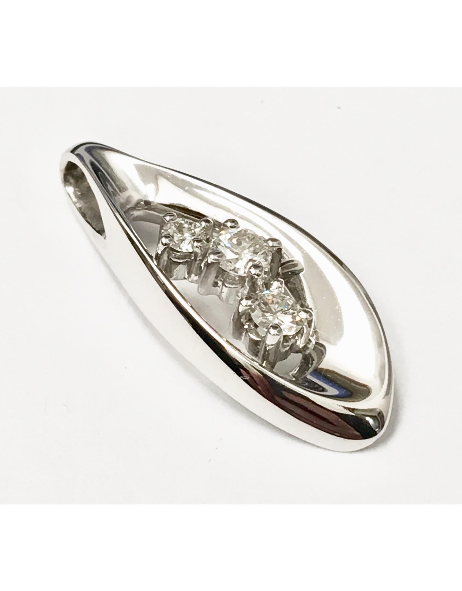 Custom Triple Diamond Pendant 14KW