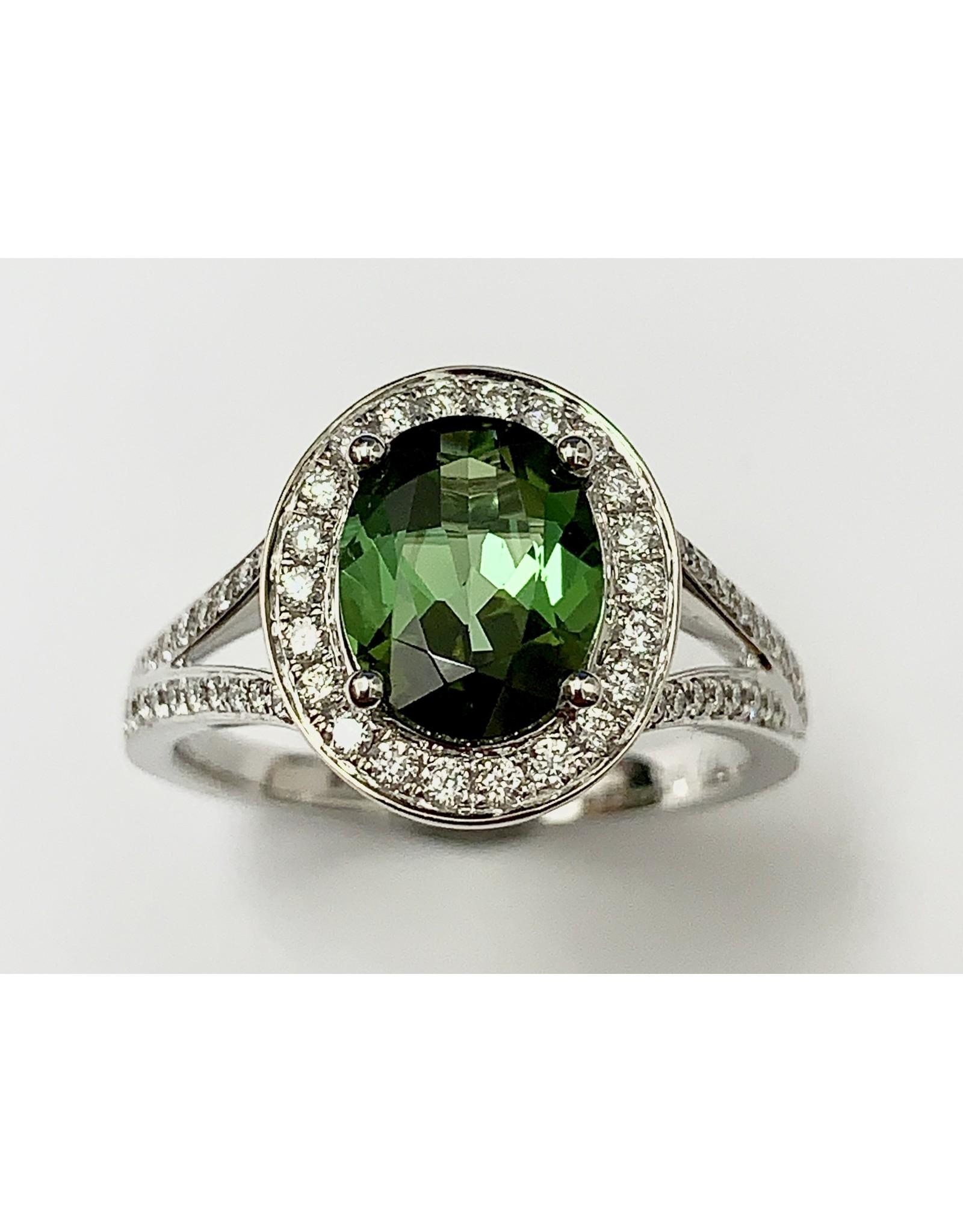 Green Tourmaline & Diamond Ring 14KW