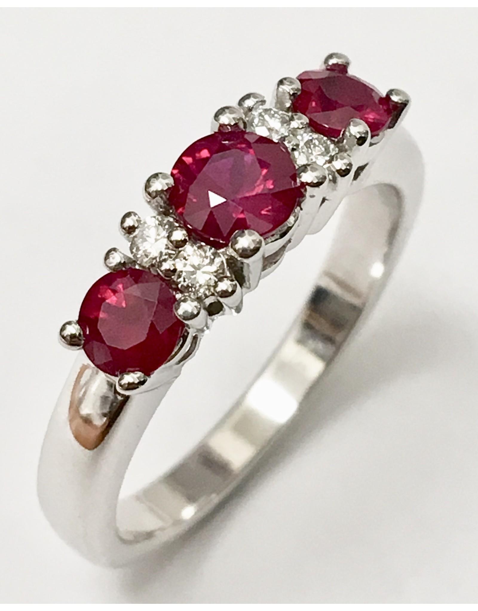 Triple Ruby & Diamond Ring 18KW