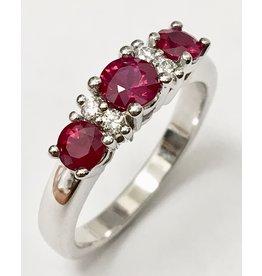 Triple Ruby & Diamond Ring