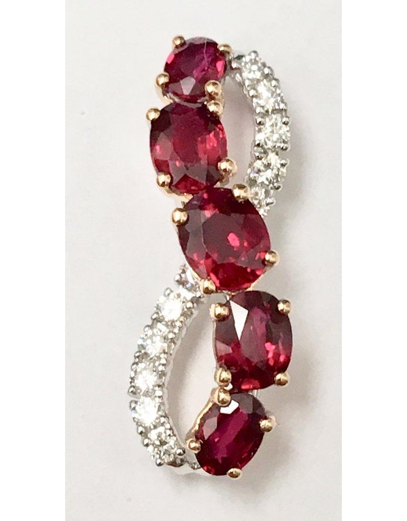 Ruby & Diamond Pendant 18KWR