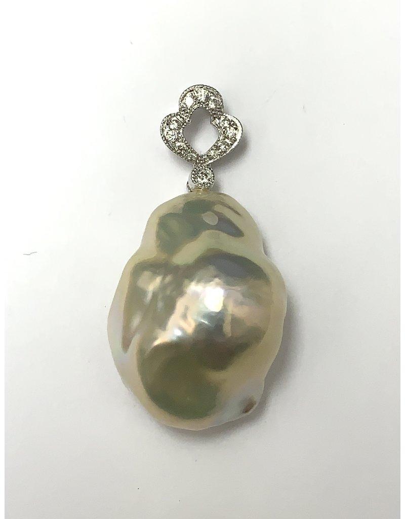 Baroque Freshwater Pearl & Diamond Pendant 18KW