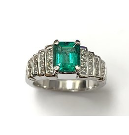 Emerald & Diamond Carved Ring
