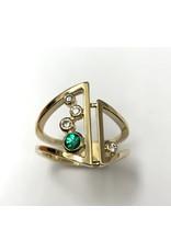 Emerald & Diamond Bezel Ring 14KY