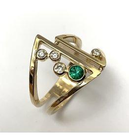 Emerald & Diamond Bezel Ring