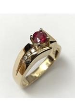 Ruby & Diamond Ring 14KWY