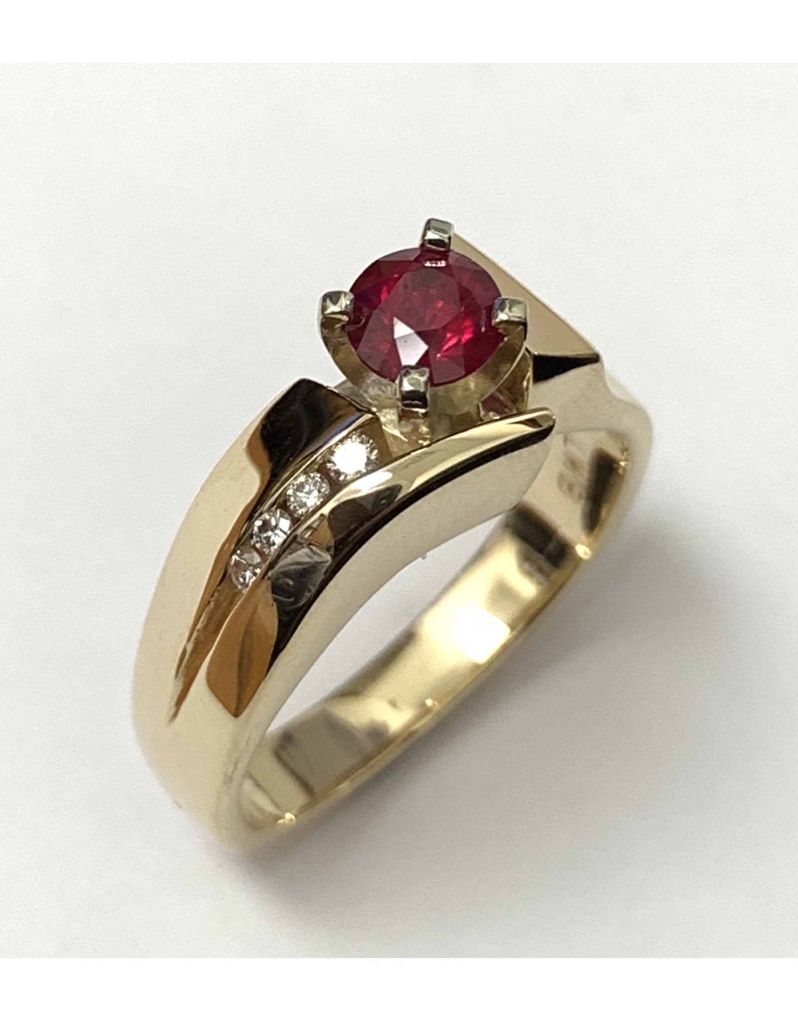 Ruby & Diamond Ring 14KWY